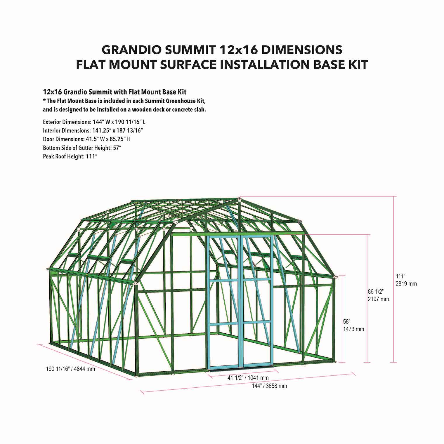 Grandio Summit Greenhouse with Steel Base Kit Dimensions