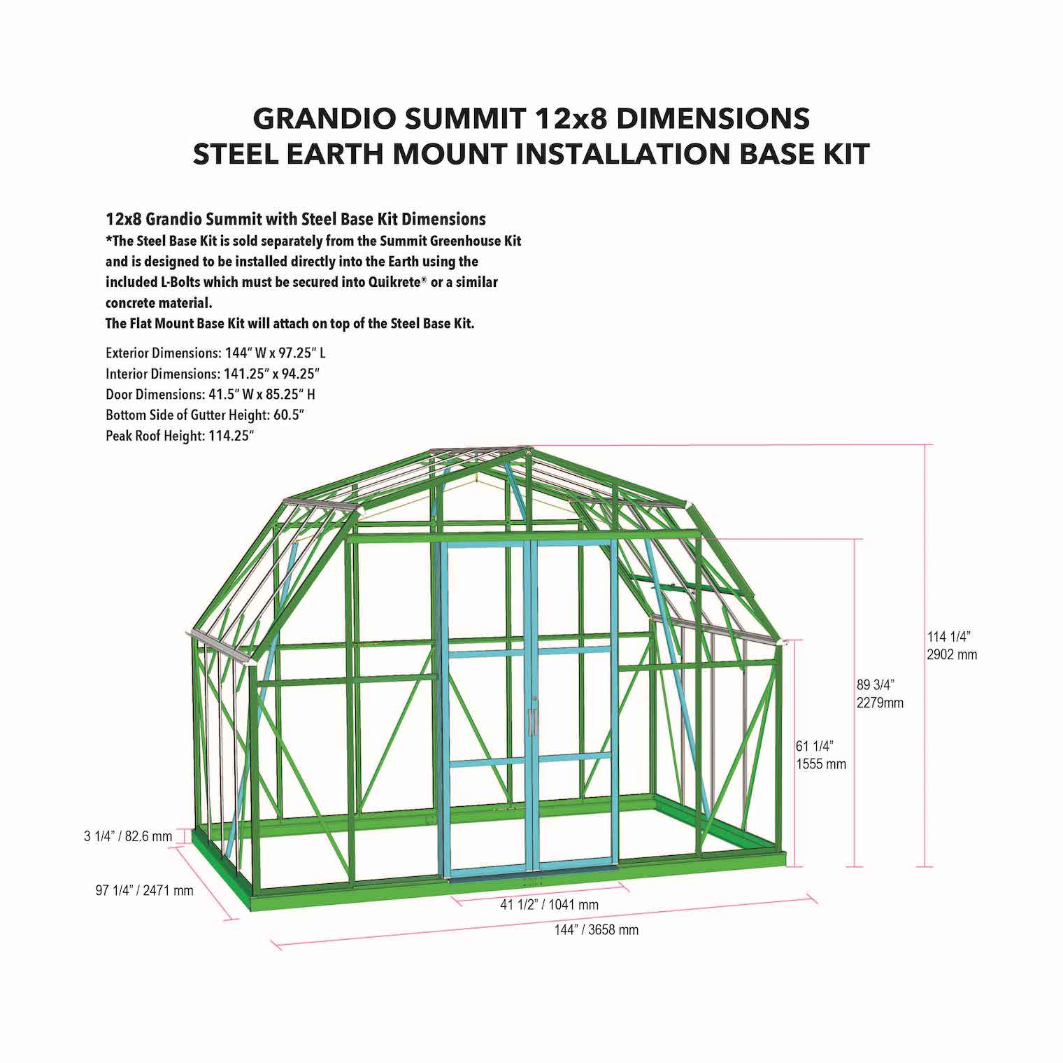 Grandio Summit Flat Mount Greenhouse Kit Dimensions